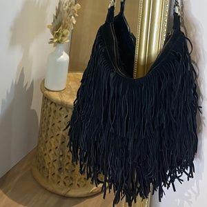 LF black fringe purse